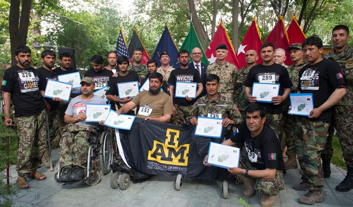 Wounded Afghan army competitors who were selected to represent Afghanistan at Invictus Games Toronto 2017 this summer with 17