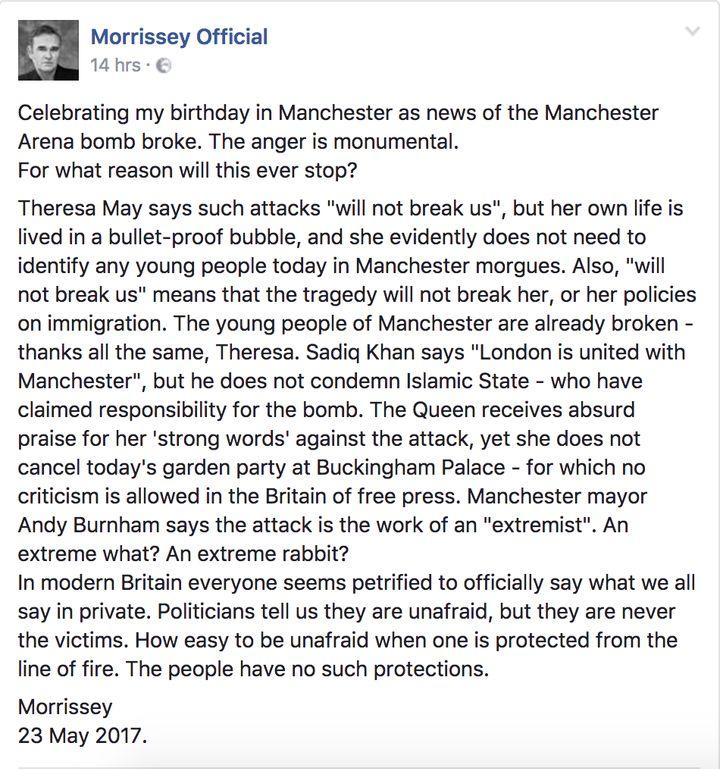 Morrissey's statement in full