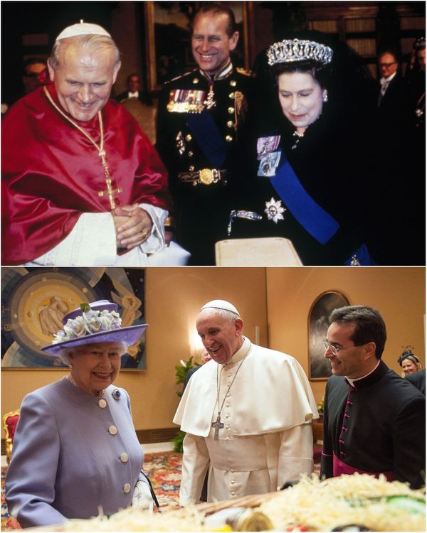 """Britain's <a href=""""http://www.huffingtonpost.com/topic/queen-elizabeth"""">Queen Elizabeth II</a> presented gifts to Pope Franci"""