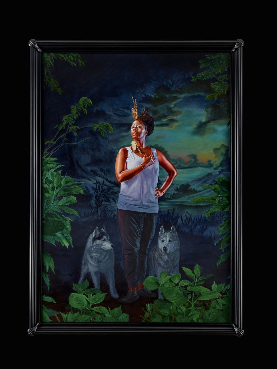 "Kehinde Wiley, ""Portrait of Mickalene Thomas, the Coyote,"" 2017, oil on canvas"