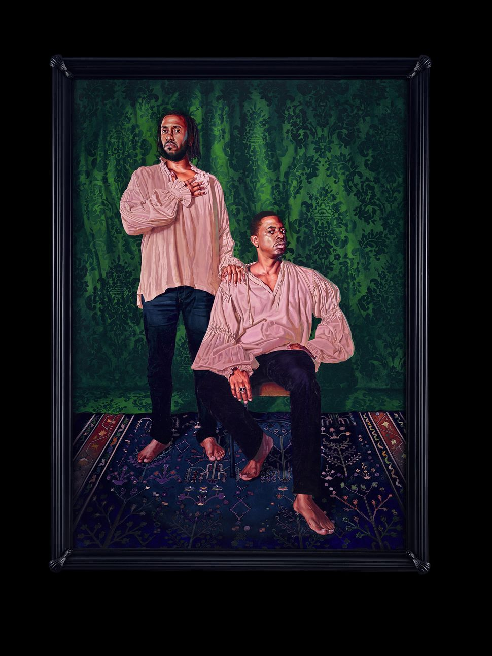 "Kehinde Wiley, ""Portrait of Rashid Johnson and Sanford Biggers, The Ambassadors,"" 2017, oil on canvas"