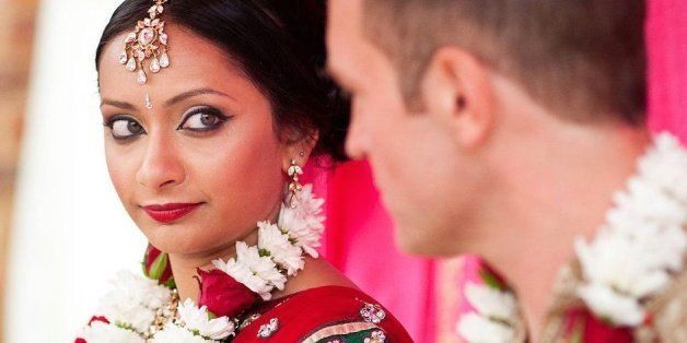 Poorna and her husband Rob on their wedding