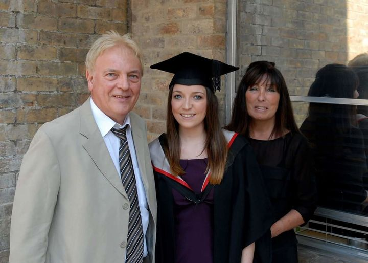 Jade with her mum and dad.