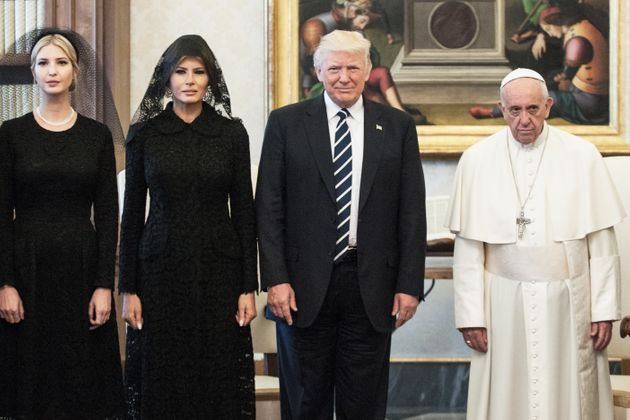 President Trump, wife Melania Trump and daughter Ivanka Trump meet with Pope Francis, on May 24 in Vatican...