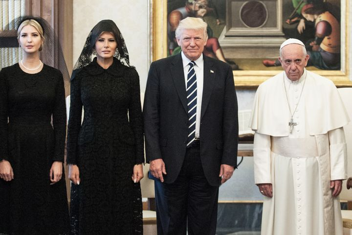 President Trump, wife Melania Trump and daughter Ivanka Trump meet with Pope Francis, on May 24 in Vatican City, Vatican.