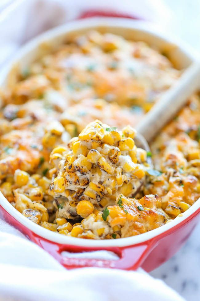 """<strong>Get the <a href=""""http://damndelicious.net/2014/11/12/easy-creamed-corn/"""" target=""""_blank"""">Easy Creamed Corn recipe</a>"""
