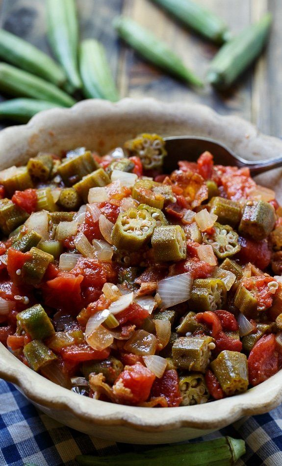 """<strong>Get the <a href=""""https://spicysouthernkitchen.com/stewed-okra-and-tomatoes/"""" target=""""_blank"""">Stewed Okra with Tomatoe"""