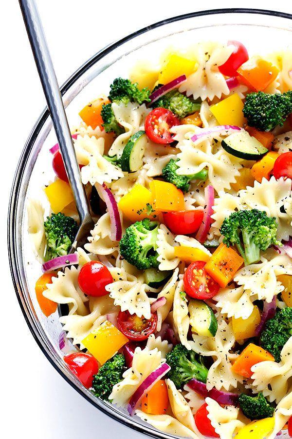 "<strong>Get the <a href=""https://www.gimmesomeoven.com/veggie-lovers-pasta-salad-recipe/"" target=""_blank"">Veggie Lovers Pasta"