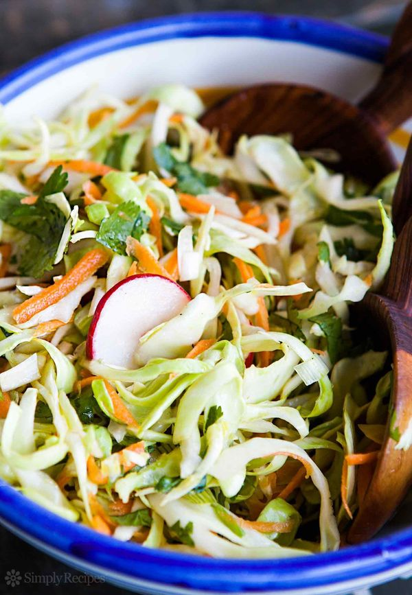 """<strong>Get the <a href=""""http://www.simplyrecipes.com/recipes/southwestern_coleslaw/"""" target=""""_blank"""">Mayo-Free Coleslaw reci"""