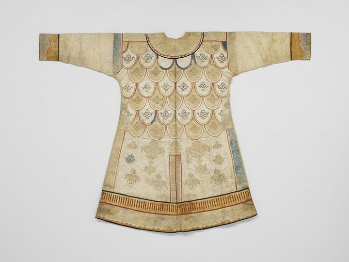A woman's ceremonial tunic from the Nivkh people (Amur river basin), in bleached carp skin, fine as silk.