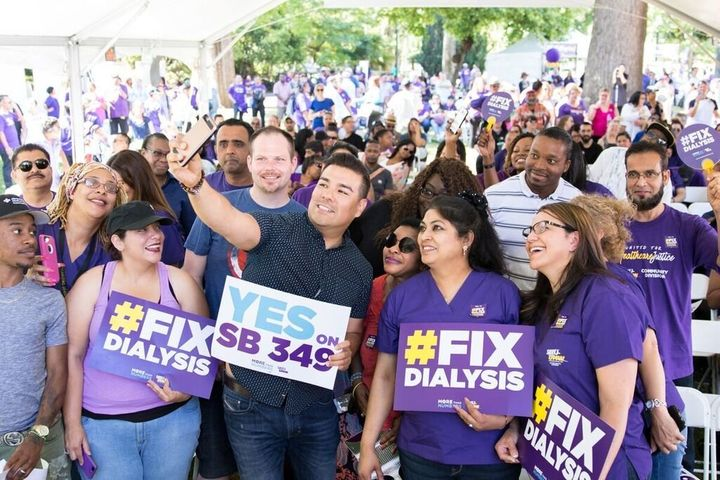 Dialysis center workers and patients rallied Tuesday behind California state Sen. Ricardo Lara's bill to set minimum staffing levels.