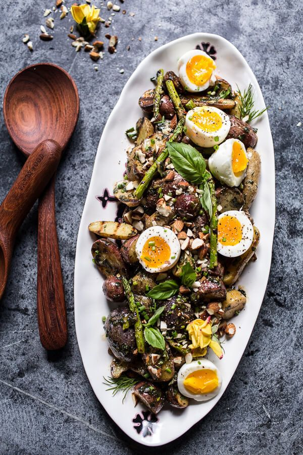 """<strong>Get the <a href=""""https://www.halfbakedharvest.com/grilled-potato-salad-with-almond-basil-chimichurri-and-7-minute-egg"""