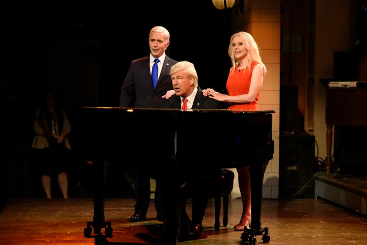 "Alec Baldwin as Donald Trump singing ""Hallelujah."""