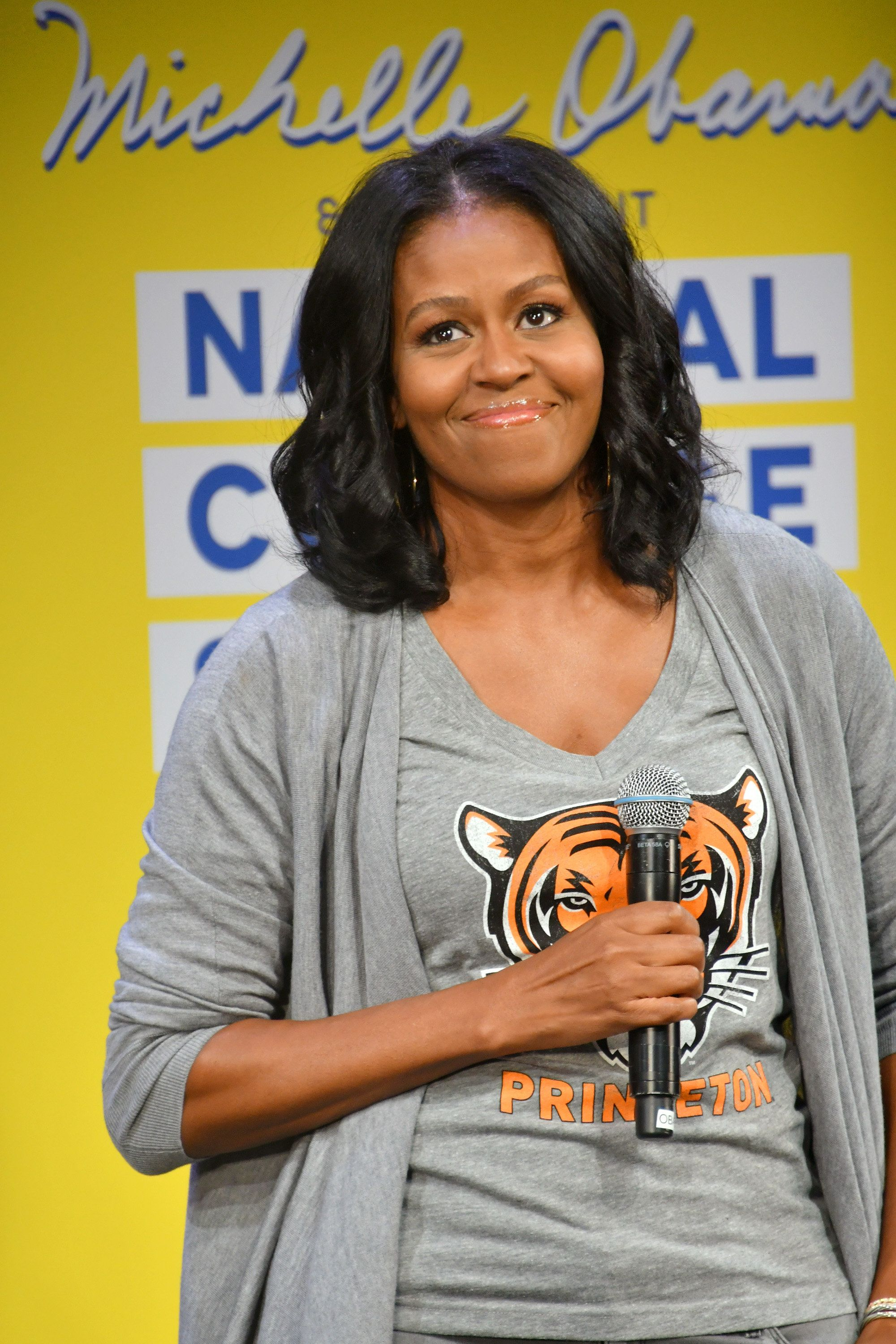 NEW YORK, NY - MAY 05:  Former First Lady Michelle Obama speaks onstage during MTV's 2017 College Signing Day With Michelle Obama at The Public Theater on May 5, 2017 in New York City.  (Photo by Mike Coppola/Getty Images for MTV)