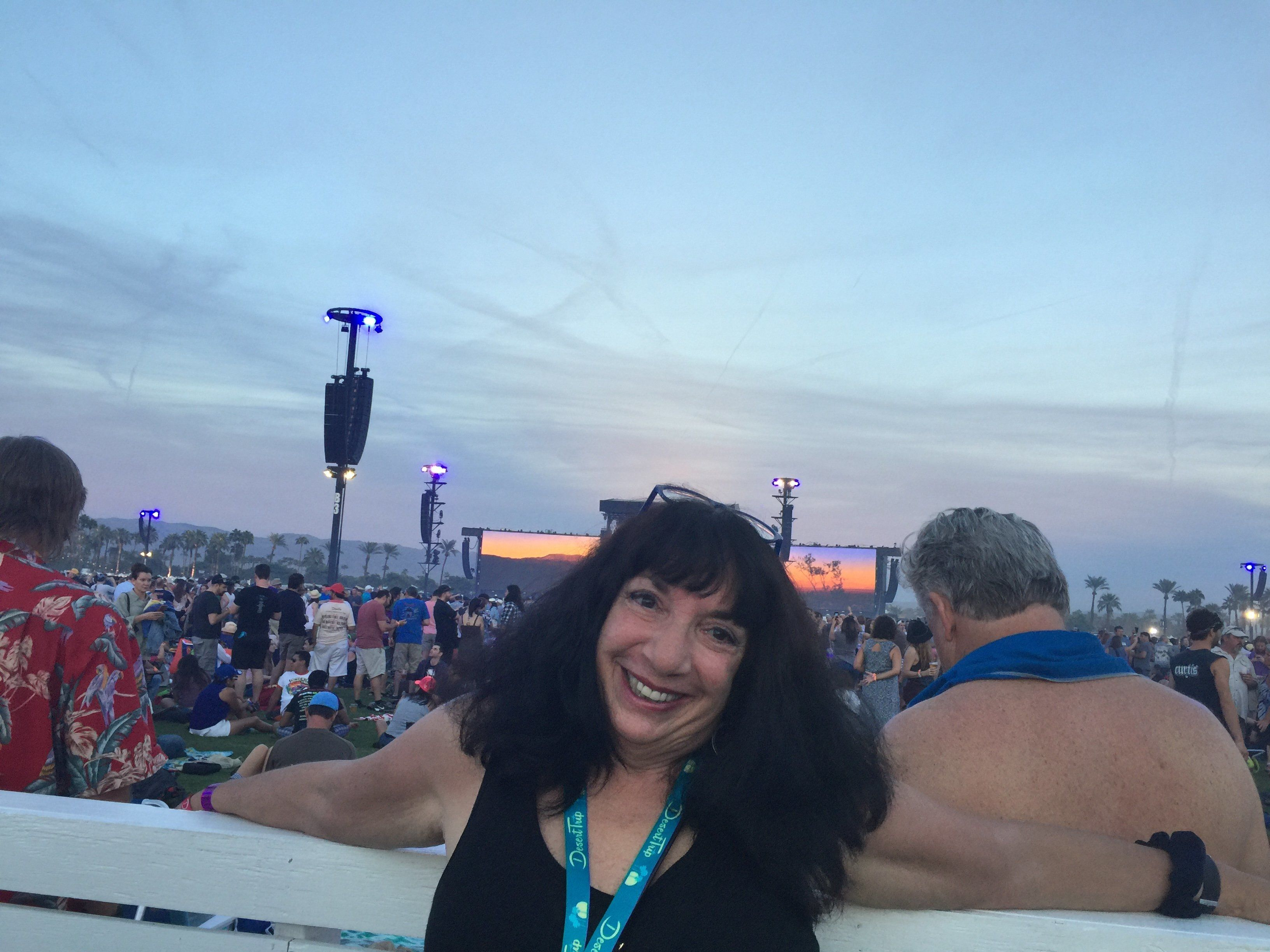 The author enjoying her non-retirement by covering Desert Trip in Indio 2016