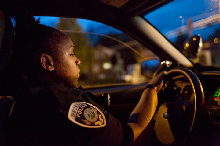 Beckley police officer Charlene Diggs in her patrol car.