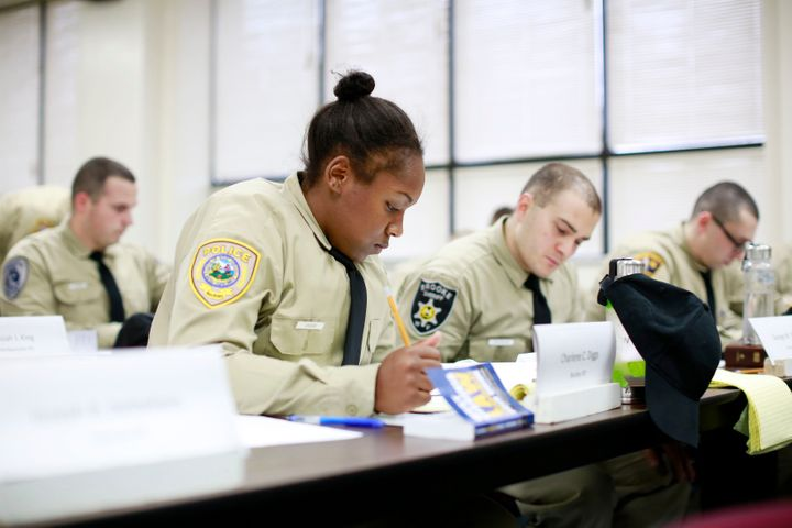 Charlene Diggs taking an exam at the West Virginia State Police Academy in December of 2016.