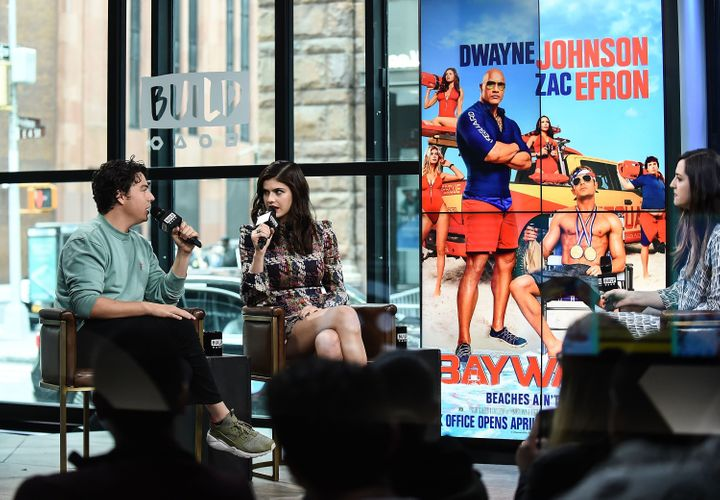 Jon Bass and Alexandra Daddario attend Build Series to discuss the new film 'Baywatch' at Build Studio on May 24, 2017 in New