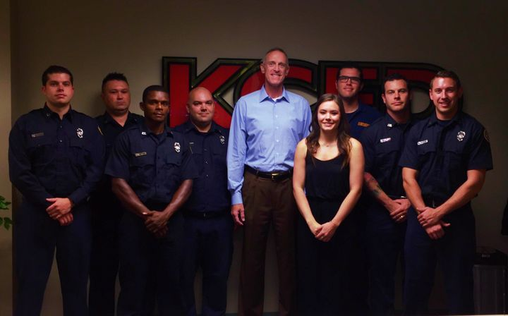 <p>Rick visits the Kansas City Fire Department. Bryan Rice is to the right of Rick in the back row.</p>