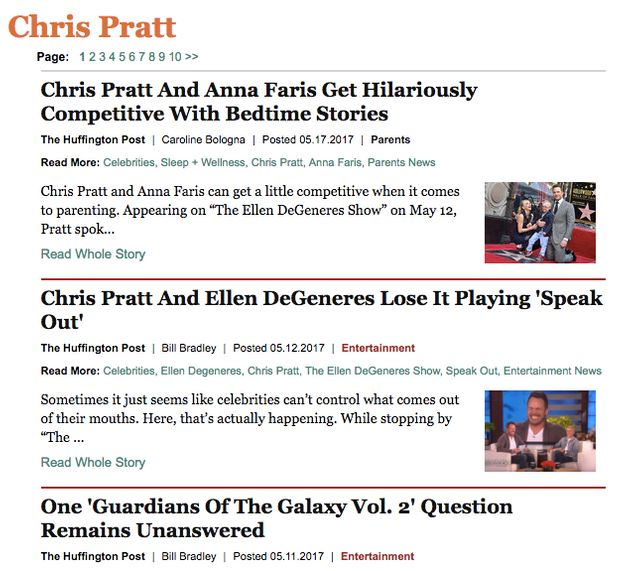 The tag page for actor Chris Pratt houses every single piece of content that's tagged with his