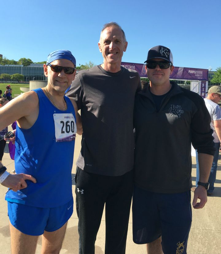 <p>Rick at this year's PurpleStride 5k with his lifesavers: Dr. Jack Uhrig (left) and Bryan Rice (right).</p>