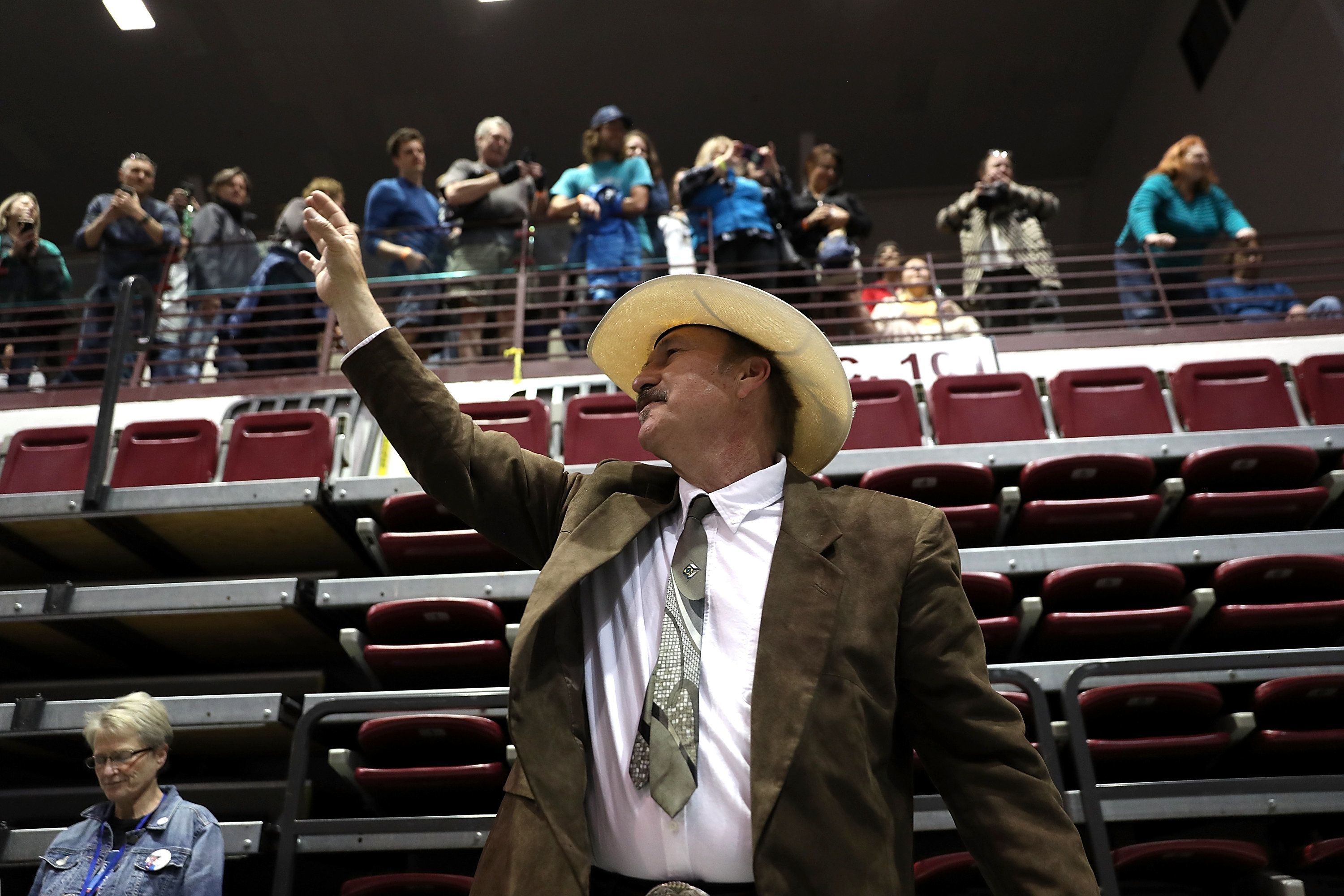 MISSOULA, MT - MAY 20:  Democratic U.S. Congressional candidate Rob Quist greets supporters during a campaign rally with U.S. Sen. Bernie Sanders (I-VT) at the University of Montana on May 20, 2017 in Missoula, Montana. Rob Quist is campaigning with U.S. Sen. Bernie Sanders ahead of a May 25 special election to fill Montana's single congressional seat. Quist is in a tight race against republican Greg Gianforte.  (Photo by Justin Sullivan/Getty Images)