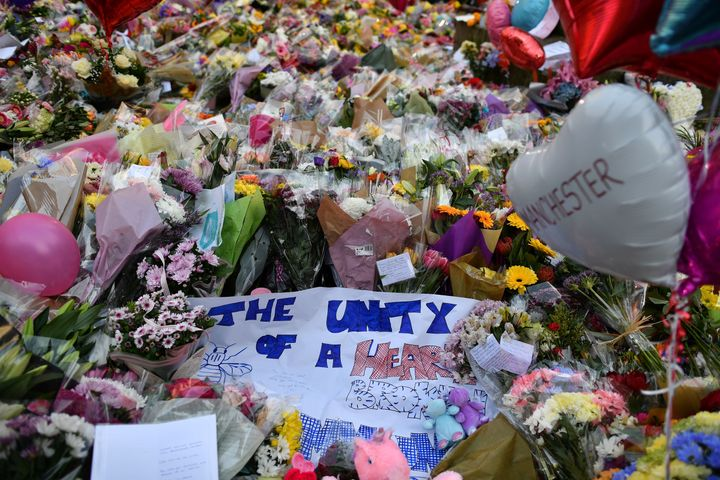 Mourners placed flowers in St. Ann's Square in Manchester following the deadly attack.