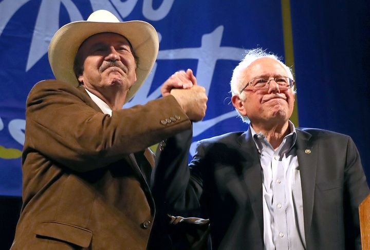 Democratic U.S. House candidate Rob Quist with Sen. Bernie Sanders (I-Vt.) greet supporters at a campaign rally May 20 i