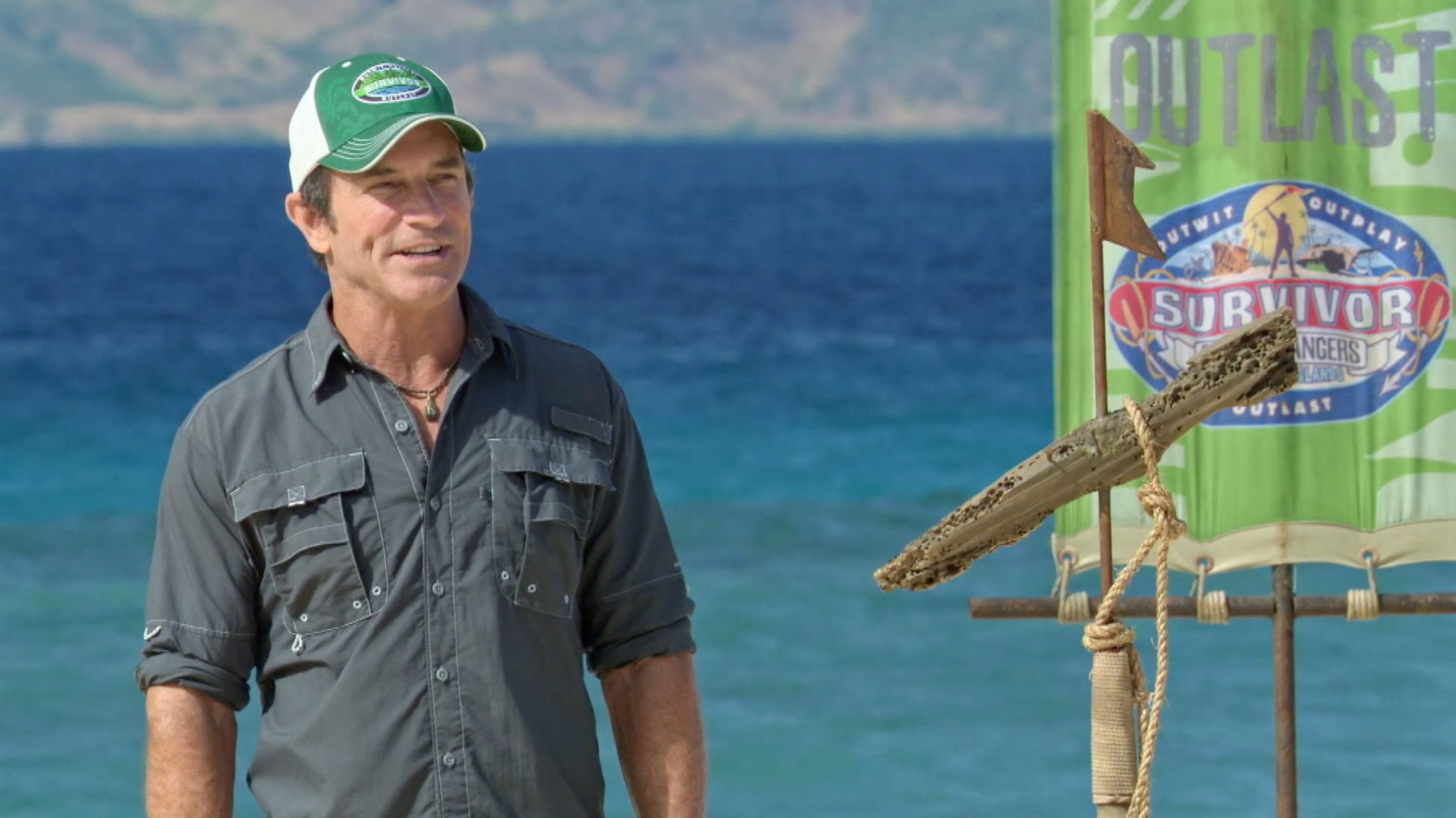 MANA ISLAND - APRIL 18: 'There's A New Sheriff in Town' - Jeff Probst on the eighth and ninth episode of SURVIVOR: Game Changers, airing Wednesday, April 19 (8:00-10:00 PM, ET/PT) on the CBS Television Network. Image is a screen grab. (Photo by CBS via Getty Images)