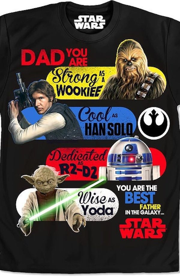 """$35.88, 80sTees.com. <a href=""""https://www.80stees.com/products/star-wars-fathers-day-t-shirt"""" target=""""_blank"""">Buy here</a>."""