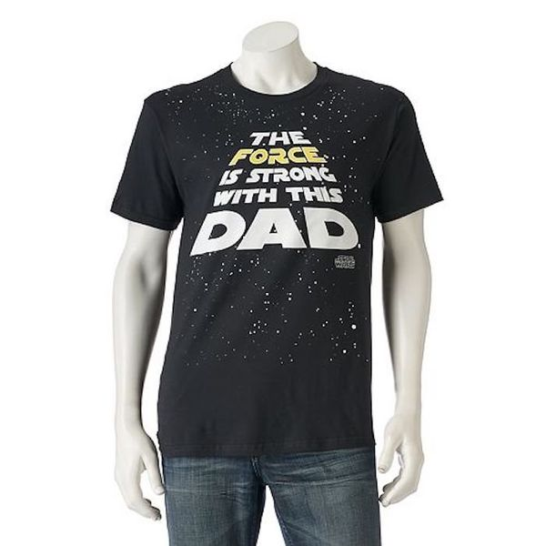 """$15, Kohl's. <a href=""""https://www.kohls.com/product/prd-2928520/mens-star-wars-the-force-is-strong-with-this-dad-tee.jsp"""" tar"""