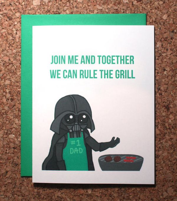 """$5, Wham Cards. <a href=""""https://www.etsy.com/listing/281370492/star-wars-fathers-day-card-darth-vader"""" target=""""_blank"""">Buy h"""