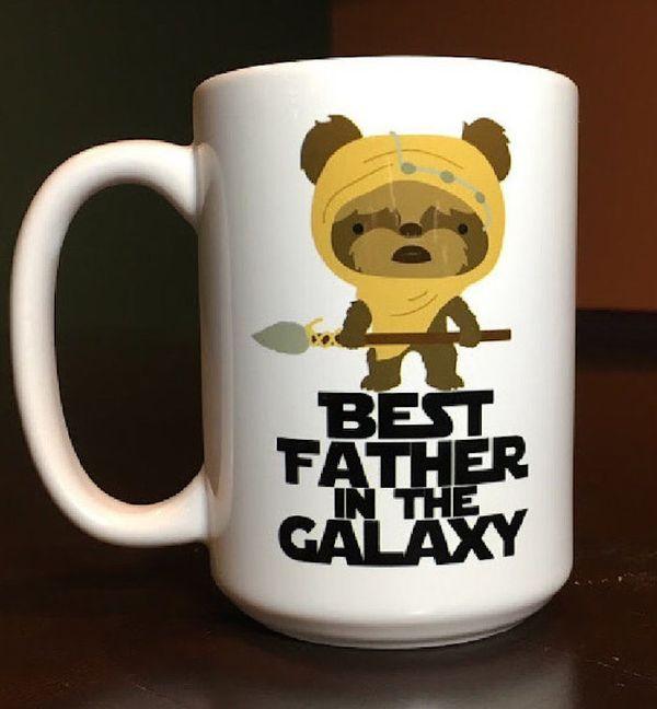 """$14, Embee Mugs. <a href=""""https://www.etsy.com/listing/254384369/star-wars-ewok-best-father-in-the-galaxy"""" target=""""_blank"""">Bu"""