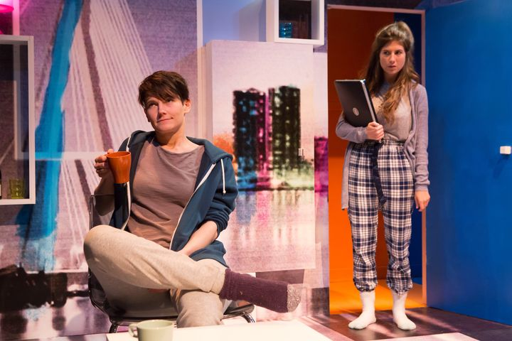 "Anna Martine Freeman (left) and Alice McCarthy star in ""Rotterdam,"" now playing New York's 59E59 Theater."