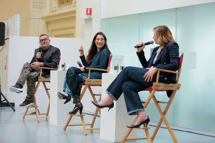 Executive Director of the School of Fashion Simon Ungless (left), Sara Kozlowski (middle), and Sarah Mower (right) discussing