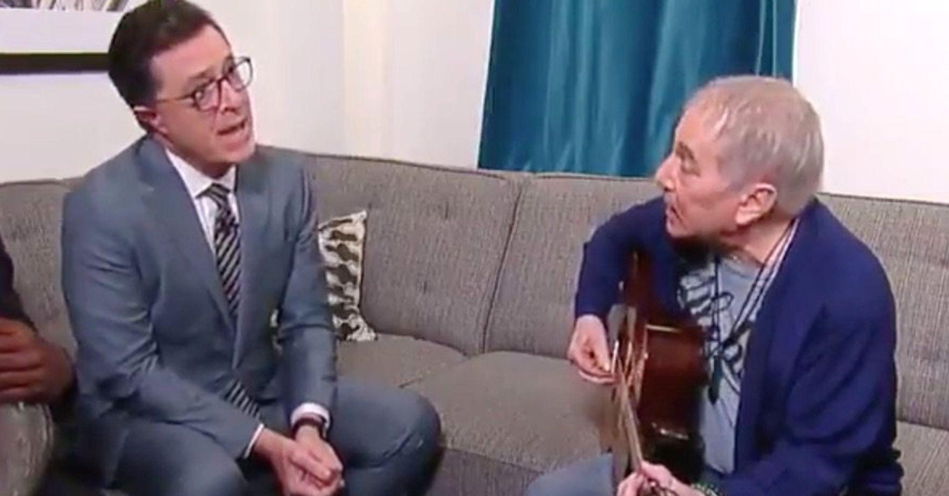 Paul Simon & Stephen Colbert Give Classic Song A Hilarious Trump-Era Update - HuffPost