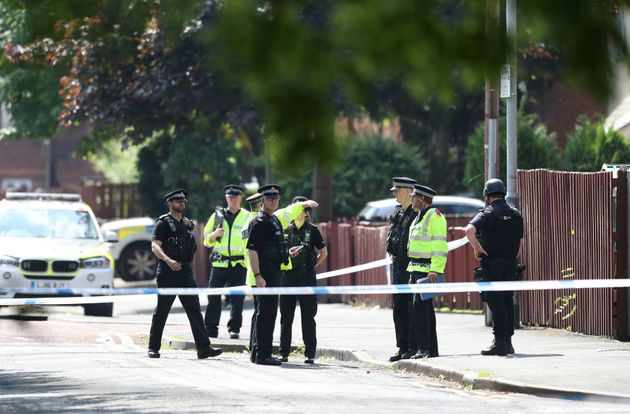 Police activity at a cordon in the Hulme area of Manchester where an army bomb disposal team was sent...