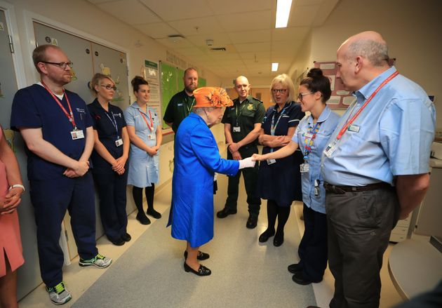 Queen Elizabeth II visits the Royal Manchester Children's Hospital to meet victims of the terror attack...