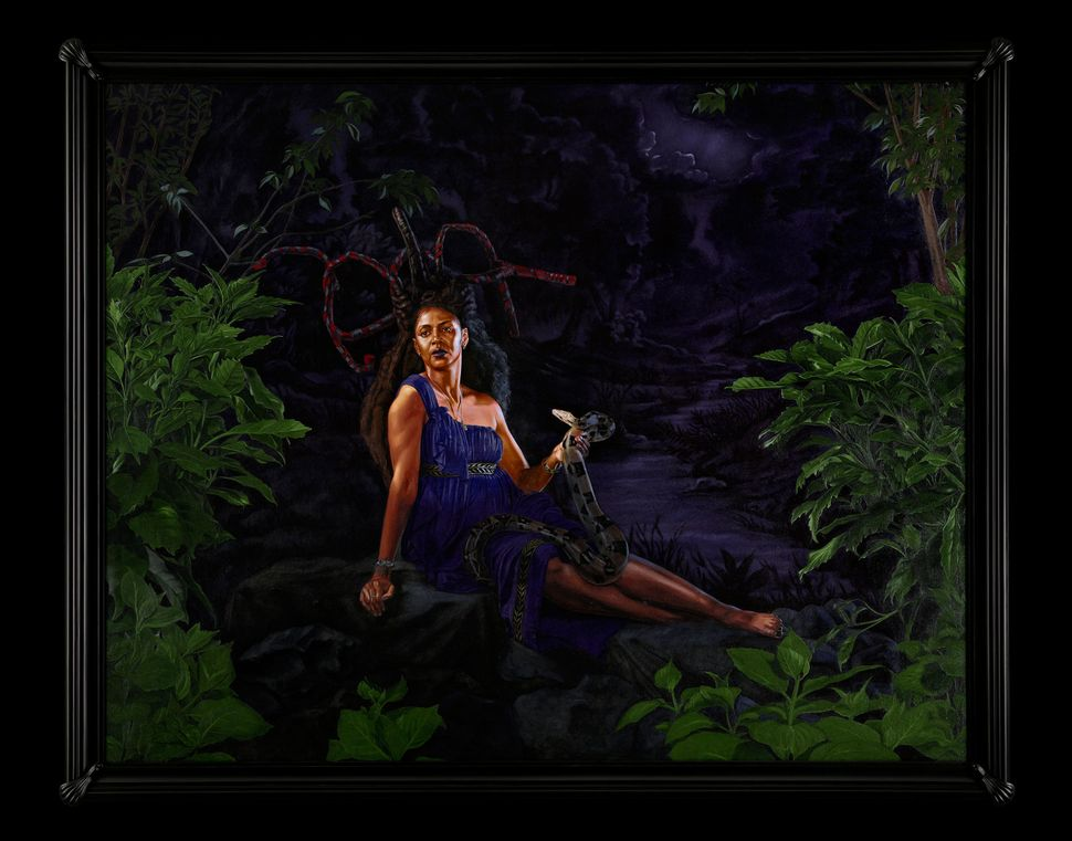 "Kehinde Wiley, ""Portrait of Wangechi Mutu, Mamiwata,"" 2017, oil on canvas"