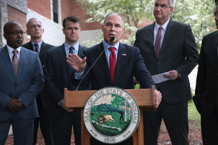 EPA Administrator Scott Pruitt speaks to the media after meeting residents at the West Calumet Housing Complex in East Chicag