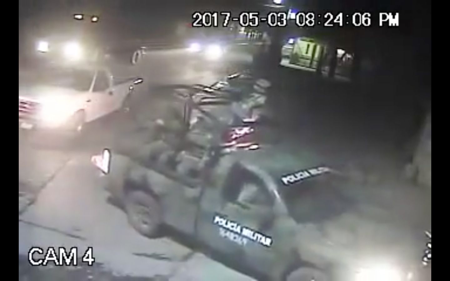 Surveillance footage purportedly shows a Mexican soldier killing a suspected thief in Palmarito Tochapan earlier this month.