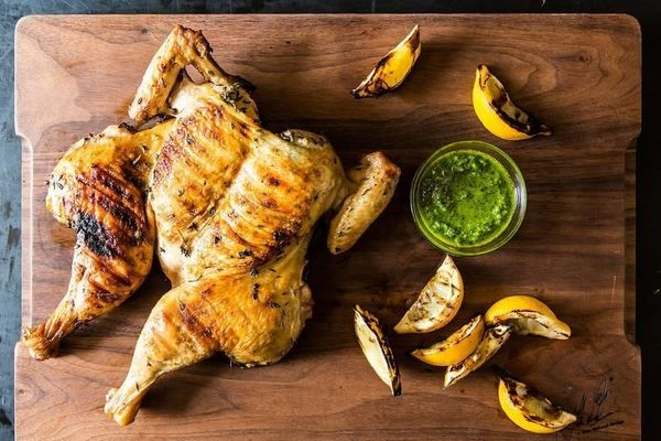 "<strong>Get the <a href=""https://food52.com/recipes/4995-chicken-al-mattone-with-thyme-pesto"" target=""_blank"">Chicken al Matt"