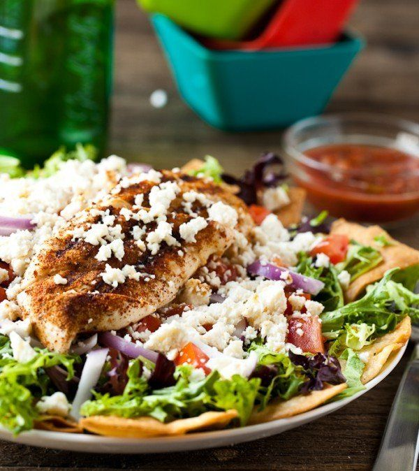 "<strong>Get the <a href=""http://eclecticrecipes.com/grilled-chicken-taco-salad"" target=""_blank"">Grilled Chicken Taco Salad re"