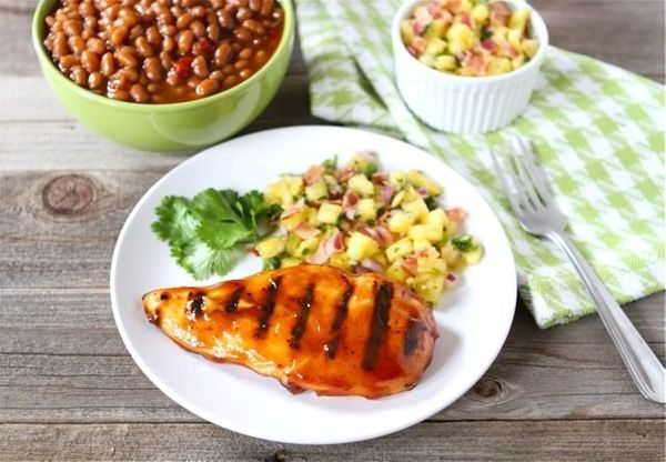 "<strong>Get the <a href=""http://www.twopeasandtheirpod.com/bbq-chicken-with-pineapple-bacon-salsa/"" target=""_blank"">BBQ Chick"