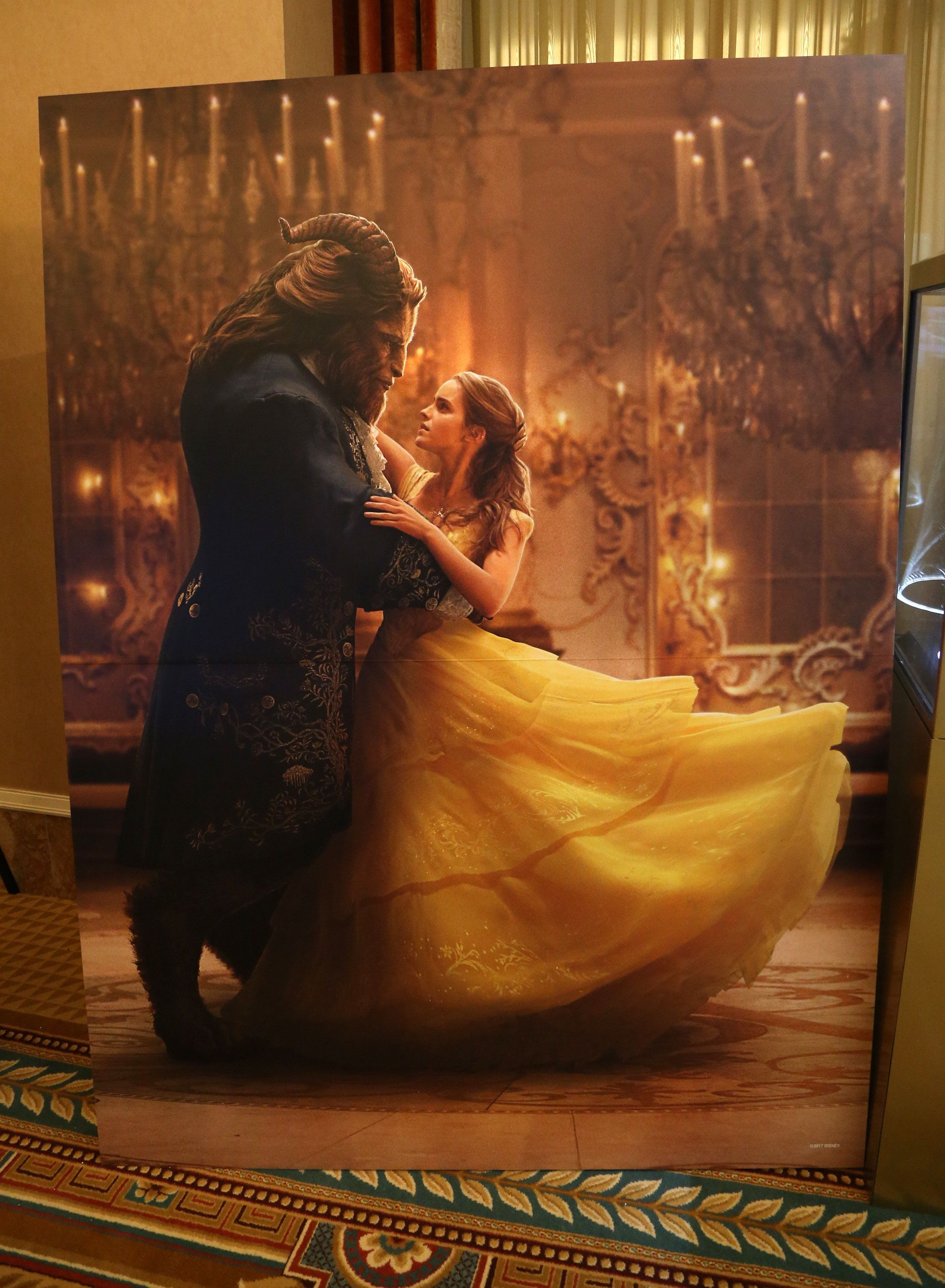 LAS VEGAS, NV - MARCH 27:  A backdrop from the movie  'Beauty and the Beast' is displayed for auction during CinemaCon at Caesars Palace on March 27, 2017 in Las Vegas, United States.  (Photo by Gabe Ginsberg/WireImage)