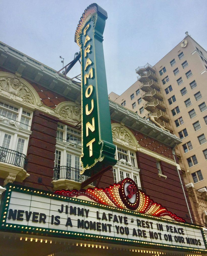 Austin's Paramount Theatre, site of the indelible joy of May 18, 2017.  The marquee on May 22, 2017.