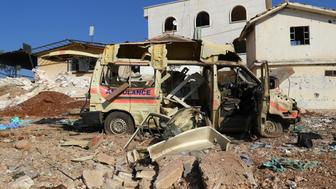 A damaged ambulance is pictured after an airstrike on the rebel-held town of Atareb, in the countryside west of Aleppo, Syria November 15, 2016. REUTERS/Ammar Abdullah