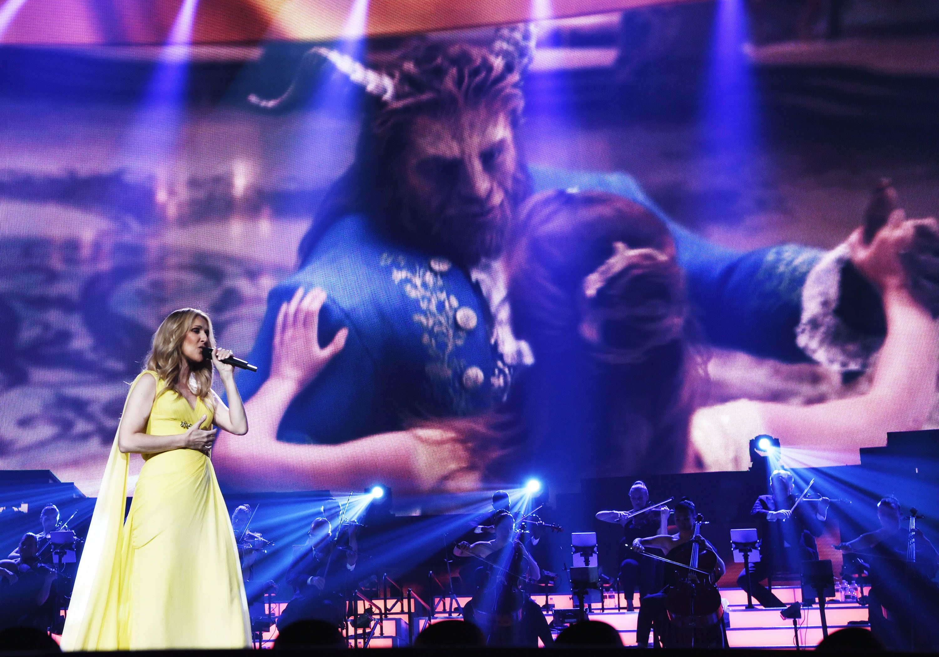 LAS VEGAS, NV - MAY 24:  Celine Dion performs Beauty and The Beast's 'How does a moment last forever' at The Colosseum at Caesars Palace on May 24, 2017 in Las Vegas, Nevada.  (Photo by Denise Truscello/WireImage)