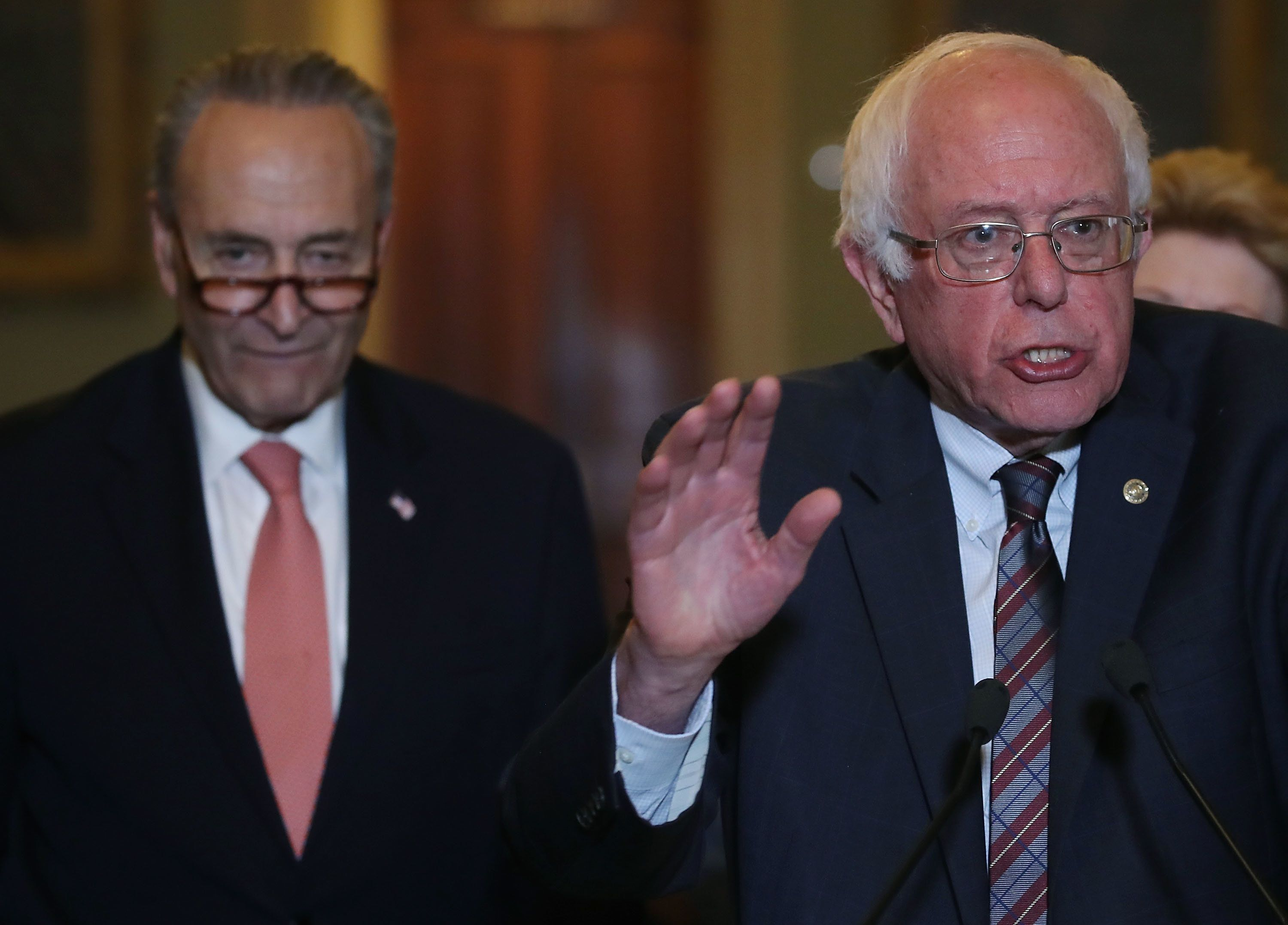 """Senate Minority Leader Chuck Schumer (D-N.Y.) is """"feeling the bern"""" when it comes to the $15 minimum wage."""