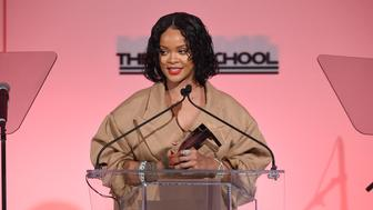 NEW YORK, NY - MAY 22:  Honoree Rihanna makes acceptance remarks on stage during the 69th Annual Parsons Benefit at Pier 60 on May 22, 2017 in New York City.  (Photo by Jamie McCarthy/Getty Images for The New School)